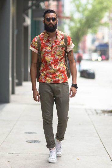 camisa estampa floral masculina vermelha