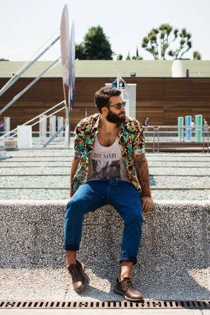 camisa floral masculina aberta