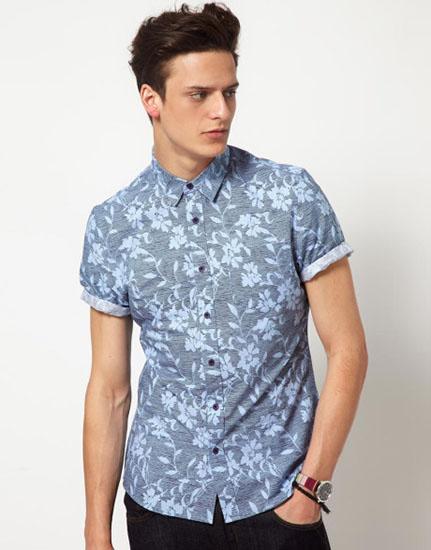 camisa floral masculina azul