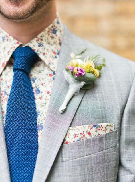 camisa floral masculina casamento moderna