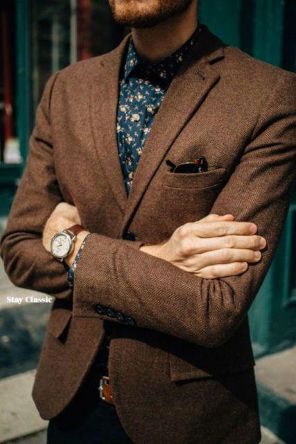 camisa floral masculina com blazer