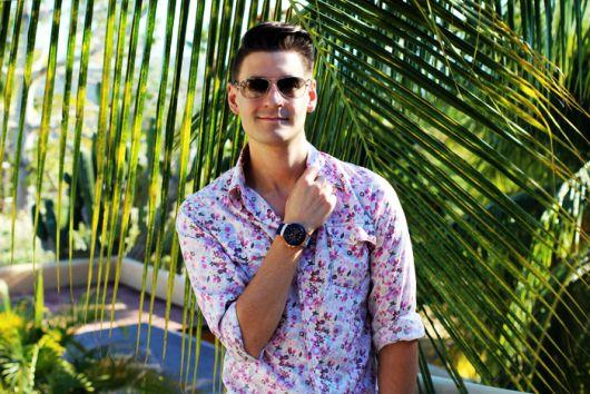 camisa floral masculina curta clara