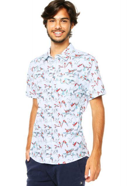 camisa floral masculina curta e clara
