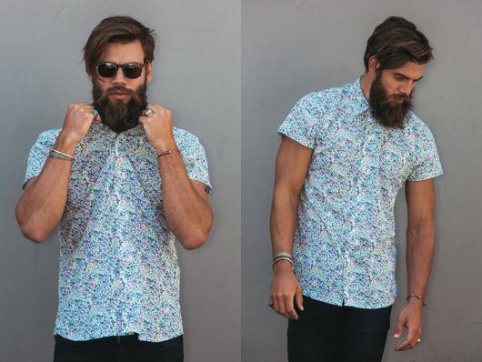 camisa floral masculina curta