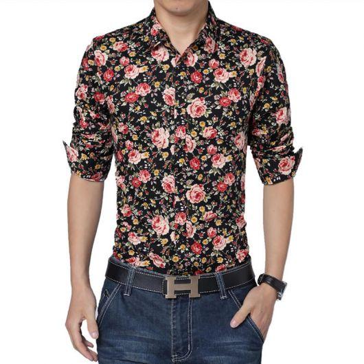 camisa floral masculina dobrada manga longa