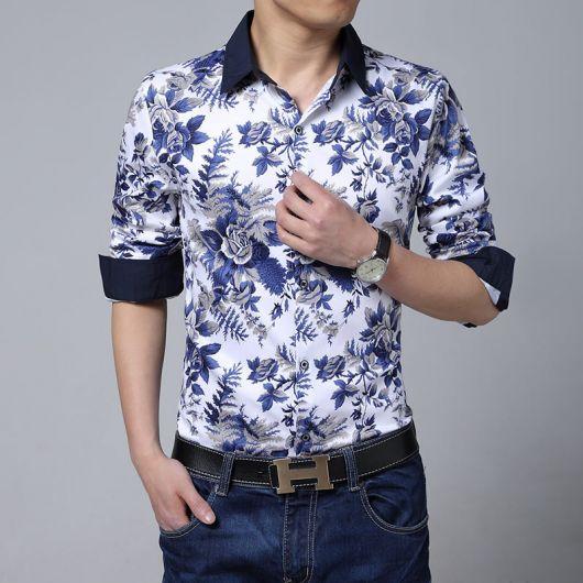 camisa floral masculina floral degrade