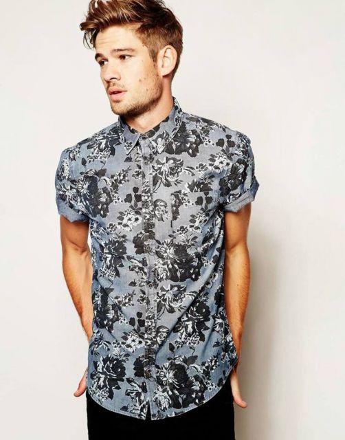 camisa floral masculina justa skate