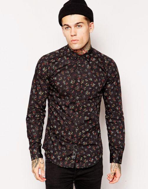 camisa floral masculina longa preta
