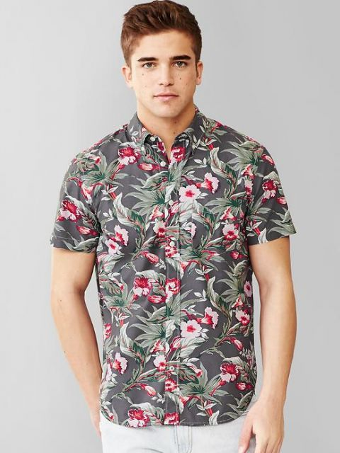camisa floral masculina manga curta