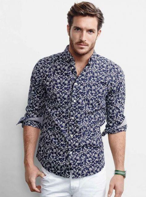 camisa floral masculina manga longa dobrada