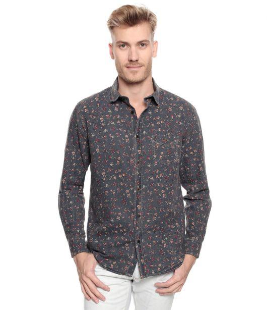 camisa floral masculina manga longa
