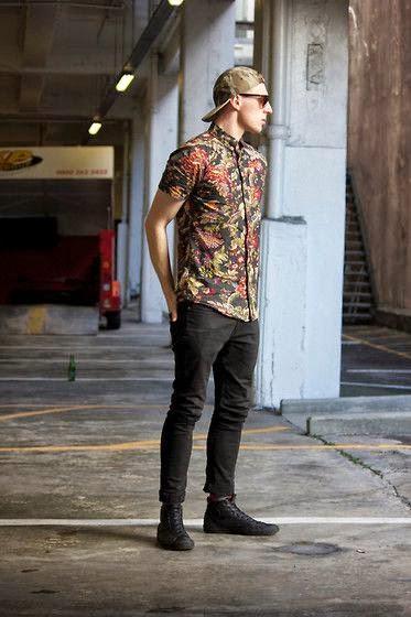 camisa floral masculina skate moderna