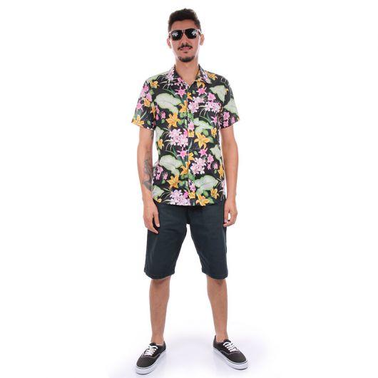 camisa floral masculina verao bermuda
