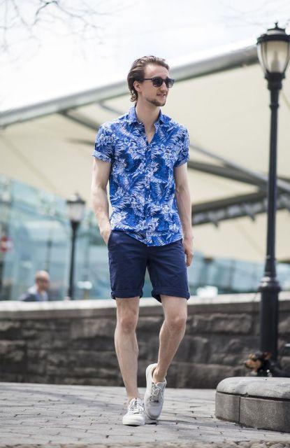 camisa havaiana masculina azul verão