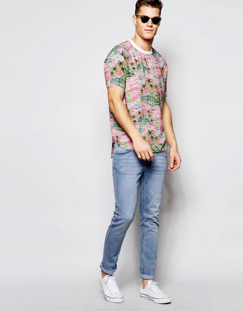 camisa havaiana masculina casual verão