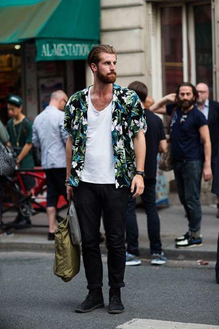 camisa havaiana masculina casual