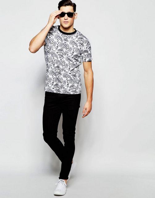 camisa havaiana masculina  penas discreta