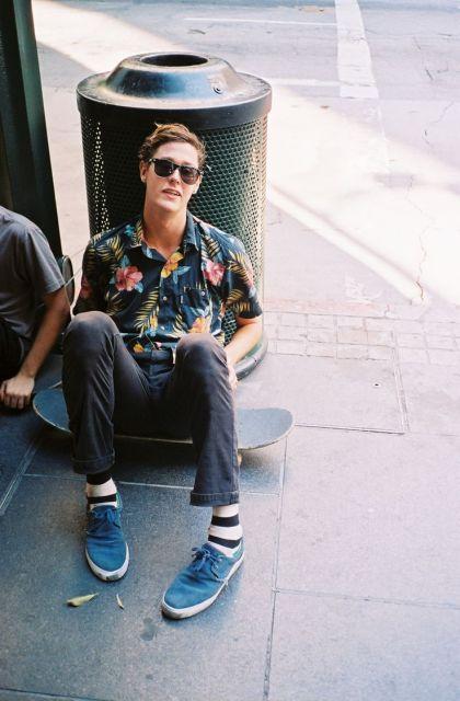 camisa havaiana masculina skate