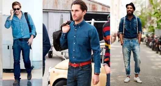 camisa jeans com jeans fechada