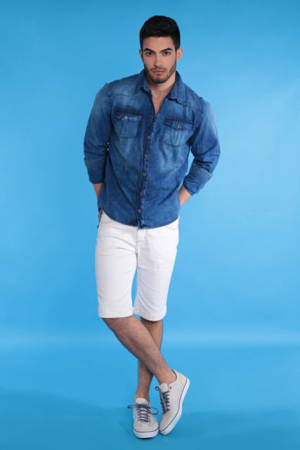 camisa jeans e bermuda