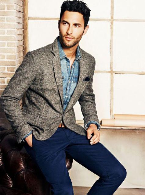 camisa jeans e blazer