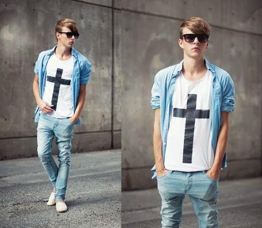 camisa jeans e sobreposição