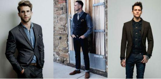 camisa jeans homens formal