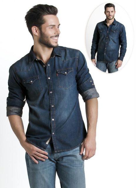 camisa jeans levs escura