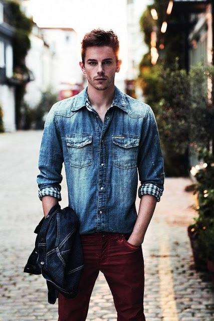 camisa jeans masculina calça colorida