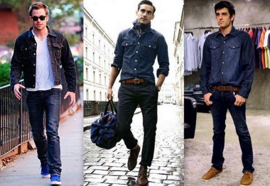 camisa jeans masculina com calça jeans inverno