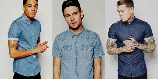 camisa jeans masculina como combinar manga curta
