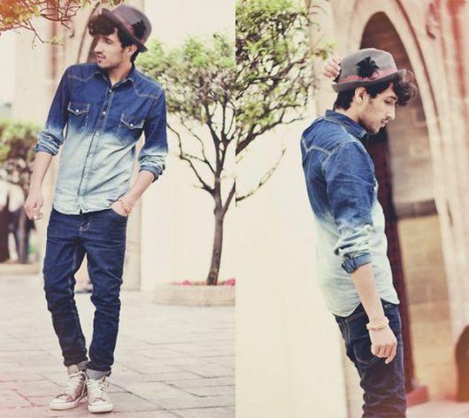 camisa jeans masculina como usar duas cores