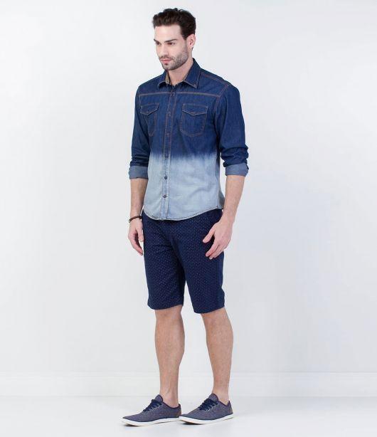 camisa jeans masculina degrade e bermuda