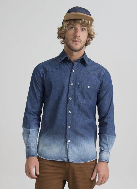 camisa jeans masculina degrade e sarja