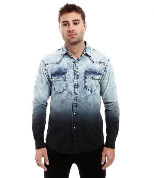 camisa jeans masculina degrade renner