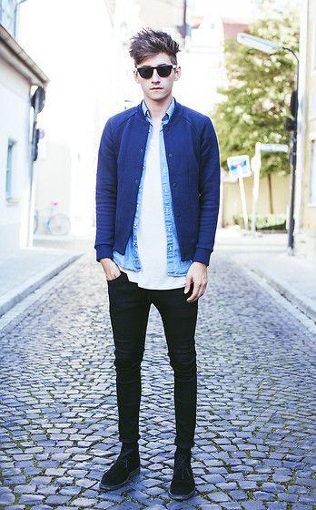 camisa jeans masculina sobreposição
