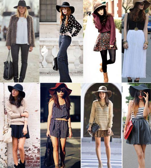 Várias modelos com roupas diferentes e diferentes chapéus floppy