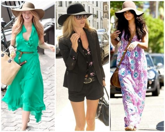 Mulheres à passeio usando chapéu floppy.