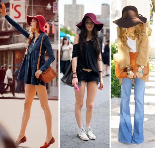 Modelos usando lindos chapéus estilo floppy