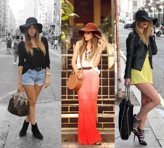 Mulheres arrumadas para festas diurnas usando chapéu floppy.