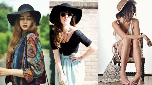 Meninas de chapéu floppy preto e de outras cores.