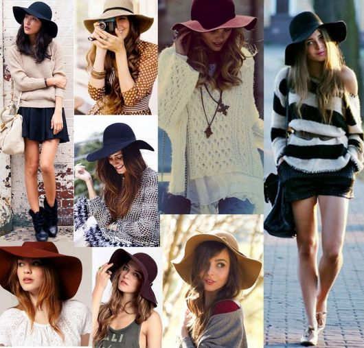Várias modelos usando chapéus floppy