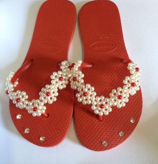 Sandalia vermelha de tirinhas - 3 5