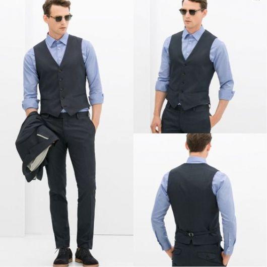 colete e terno sem gravata