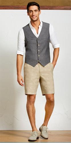 colete masculino social look com bermuda