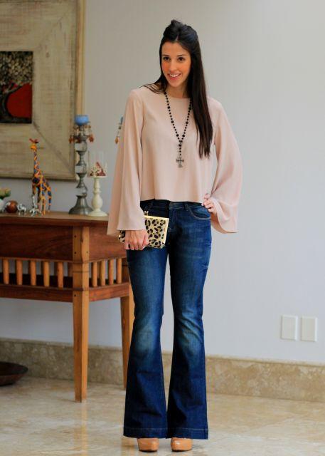 ideias para usar blusa flare com jeans