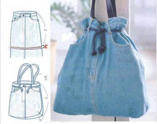 como fazer bolsa jeans com laço