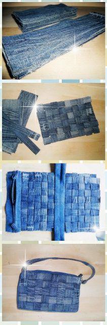 como fazer bolsa jeans trançada