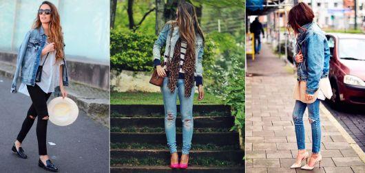 como usar jaqueta jeans - calça destroyed