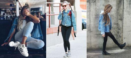 como usar jaqueta jeans - calças leggings